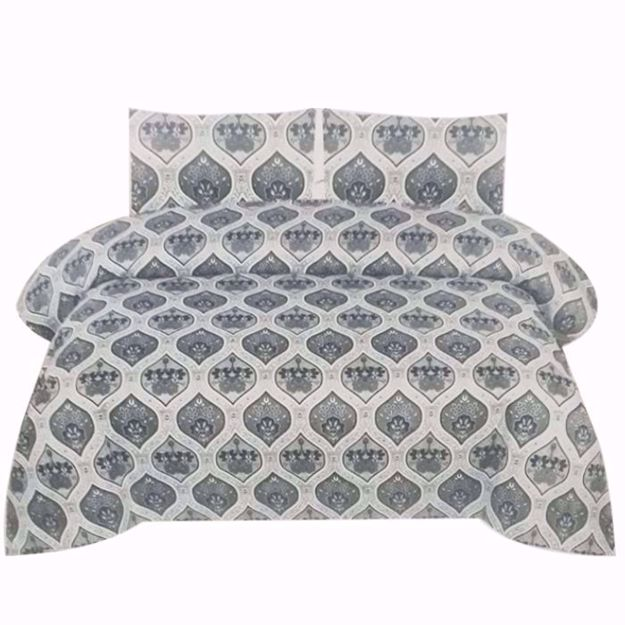 Printed Pure Cotton Satin King Size Bed Sheet with 2 Pillow Covers