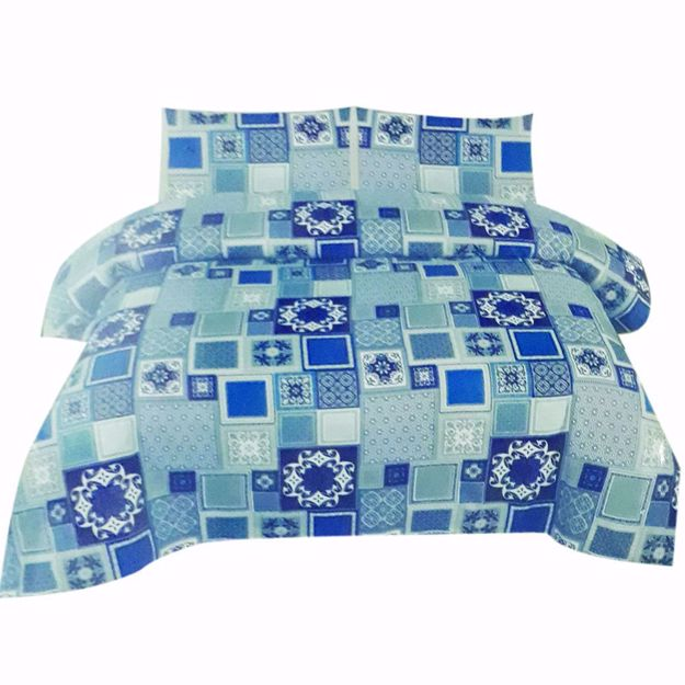 Picture of Blue Printed Pure Cotton Satin King Size Bed Sheet with 2 Pillow Covers