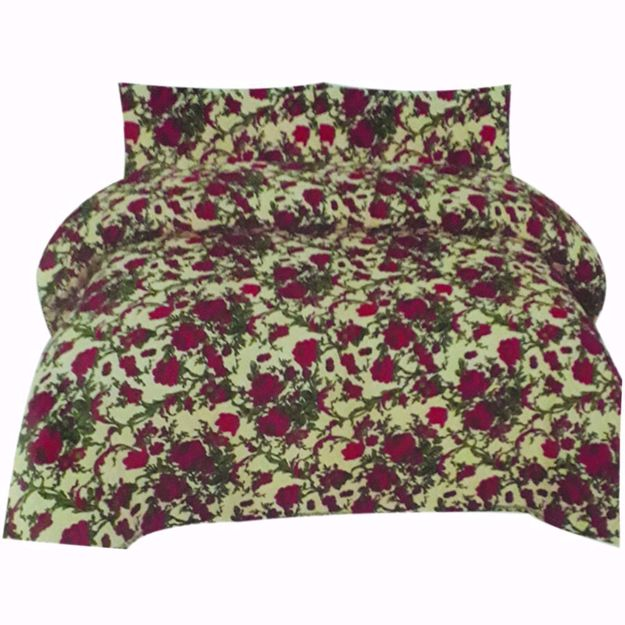Picture of Green Printed Pure Cotton Satin King Size Bed Sheet with 2 Pillow Covers