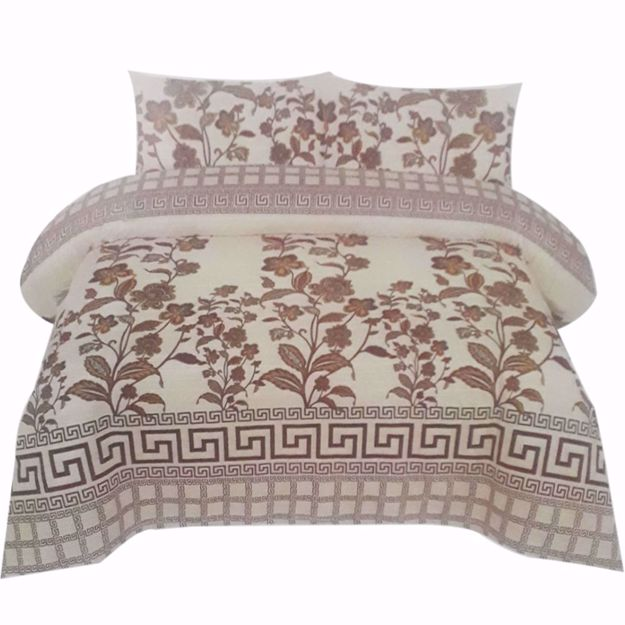 Picture of Light-Brown Printed Pure Cotton Satin King Size Bed Sheet with 2 Pillow Covers