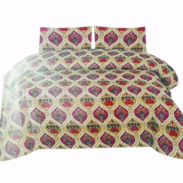 Picture of Maroon Printed Pure Cotton Satin King Size Bed Sheet with 2 Pillow Covers
