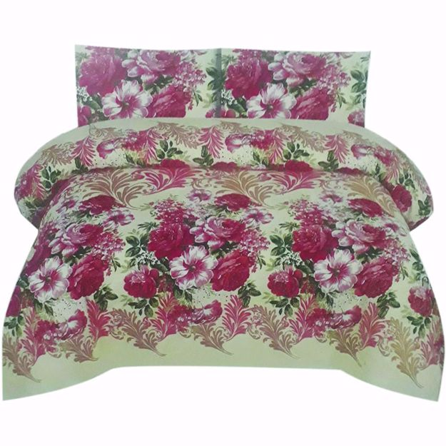 Picture of Brown Printed Pure Cotton Satin King Size Bed Sheet with 2 Pillow Covers