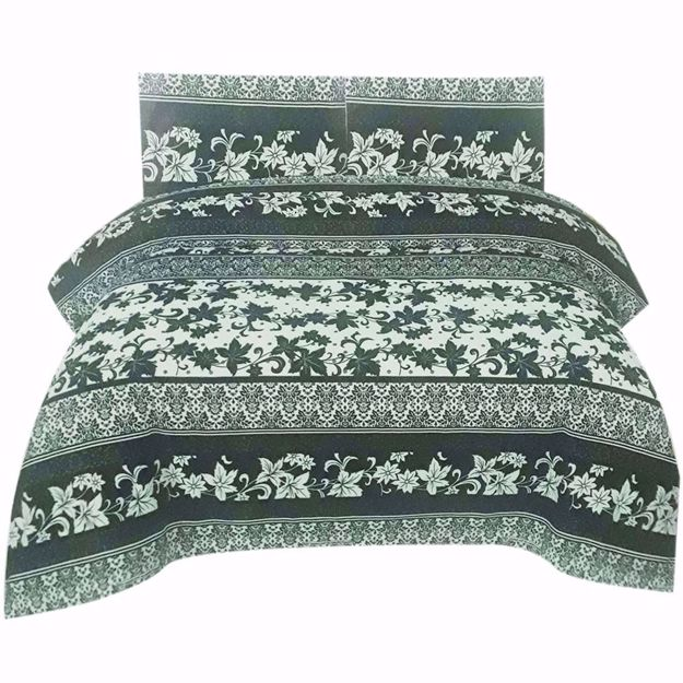 Picture of Black Printed Pure Cotton Satin King Size Bed Sheet with 2 Pillow Covers