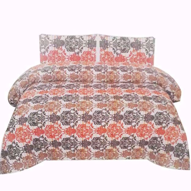 Picture of Pack of 2 Printed Pure Cotton Satin King Size Bed Sheet with 2 Pillow Covers