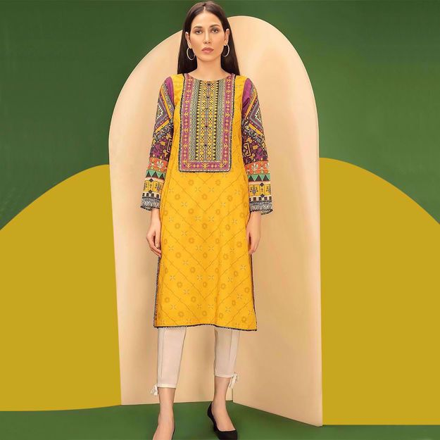 Picture of Fancy Embroidered Lawn Eid Dresses 2021 With Chiffon Dupata